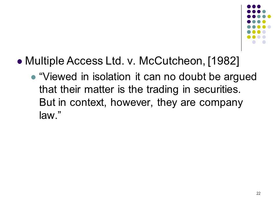 Multiple Access Ltd. v. McCutcheon, [1982]